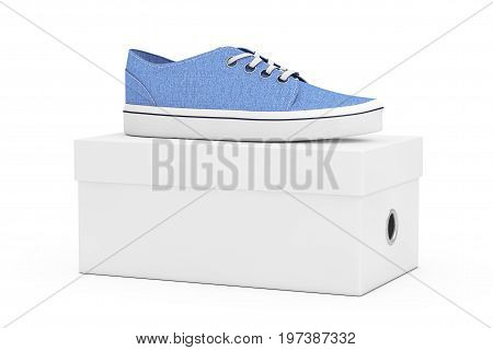 New Unbranded Blue Denim Sneakers over White Shoe Box on a white background. 3d Rendering