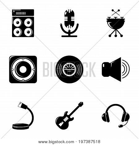 Music equalizer icons set. Simple set of 9 music equalizer vector icons for web isolated on white background