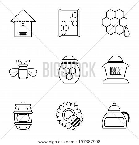 Beekeeping tools icons set. Outline set of 9 beekeeping tools vector icons for web isolated on white background
