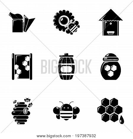 Beekeeping tools icons set. Simple set of 9 beekeeping tools vector icons for web isolated on white background