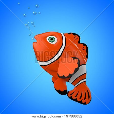 Cartoon Red Sea Clownfish on a blue background. 3d Rendering.