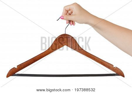 Woman Hand hold the Wooden Hanger on a white background.