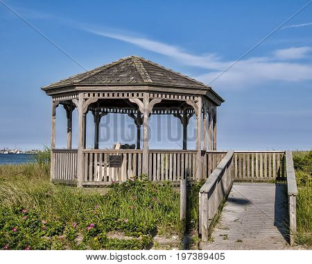 Wooden gazebo along the shore with pink flowers