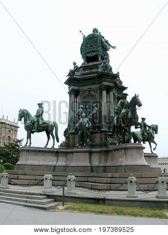 Maria Theresia Monument, in Vienna, Austria. The monument was built by Kaspar von Zumbusch in the year 1888.