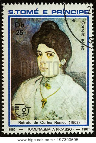Moscow Russia - July 27 2017: A stamp printed in Sao Tome and Principe shows portrait of Corina Romeu (1902) by Pablo Picasso series
