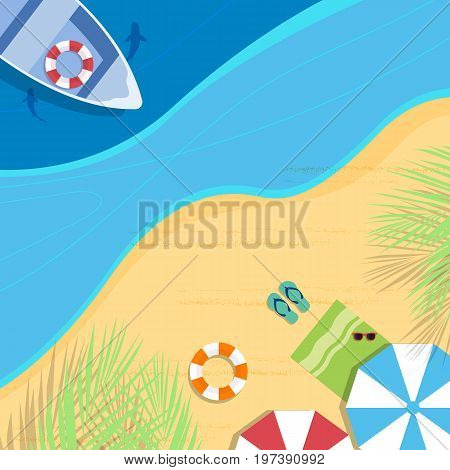 Summer beach vector background. Top view. All in a single layer. Vector illustration.