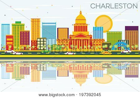 Charleston Skyline with Color Buildings, Blue Sky and Reflections. West Virginia. Business Travel and Tourism Concept with Modern Architecture. Image for Presentation Banner Placard and Web Site.