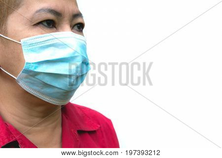 Woman suffer from sick and wearing face mask. Woman in protective mask feeling bad isolated on white background.