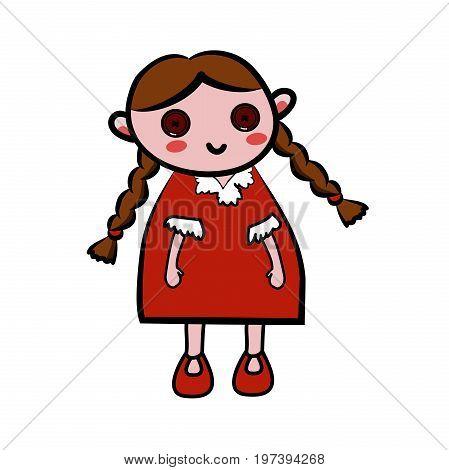 Color Sketch doll. Vector illustration EPS 10