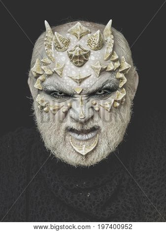Demon Head On Black Background