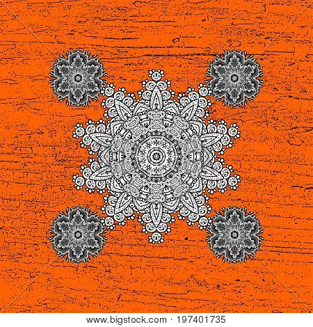 White orange floral ornament in baroque style. Antique white repeatable sketch.White element on orange background. Damask pattern repeating background.