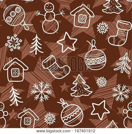 Christmas brown background, white contour drawings, seamless, vector. Christmas balls, boots, stars and snowmen painted thin white lines on a brown background.