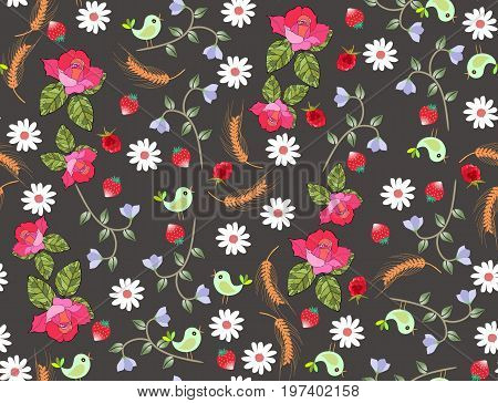 Trendy seamless floral ditsy vector pattern with roses, daisies, bellflowers, ears of wheat birds and berries.