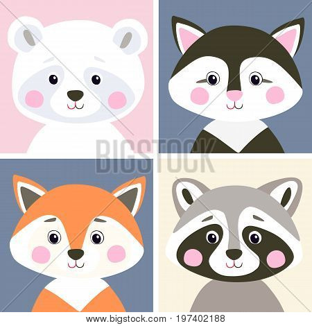 Vector set of cute woodland and pet animals. Funny polar bear, kitten, fox and raccoon in flat style. Illustration for children.