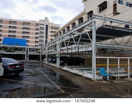 BANGKOK THAILAND - JULY 17 : Hydraulic car parking or Parking lift with cars stacked of Mongkutwattana general hospital on July 17 2017 in Bangkok Thailand