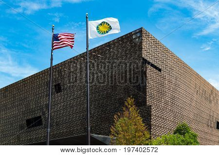 WASHINGTON, DC - JULY 12, 2017:  The National Museum of African American History and Culture, a Smithsonian Institution museum, located on the National Mall.