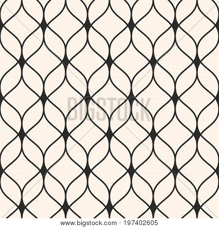 Vector seamless pattern in Arabian style. Abstract graphic monochrome background with thin wavy lines, delicate lattice. Texture of mesh, lace weaving. Stylish luxury design element, repeat tiles. Arabic pattern, geometric pattern, islamic pattern.