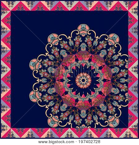 Unique pillowcase with beautiful mandala. Vector illustration. Diagonal composition.