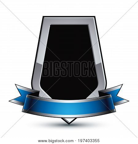 Black elegant vector protection shield with silver outline and wavy blue ribbon 3d sophisticated gray design element clear EPS 8 emblem.