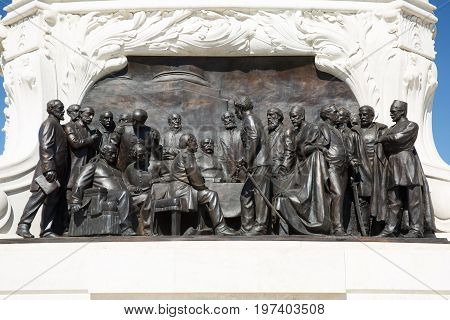 Bas-relief On The Monument Of Count Gyula Andrassy Close-up. Budapest