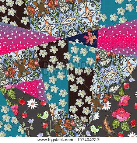 Patchwork natural pattern with yarrow flower, maple leaves, daisies, roses, berries and birds. Summer design.