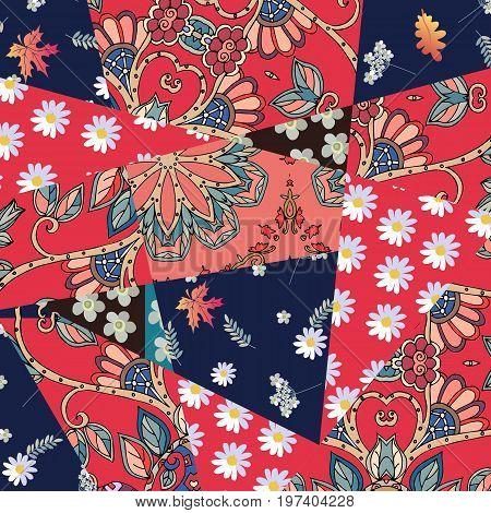 Contrast patchwork floral pattern. Summer design. Vector template.