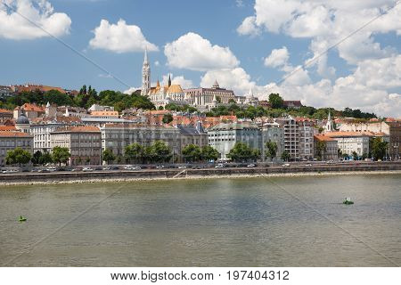 View Of The Fisherman's Bastion And The West Bank Of The River Danube In Budapest During Summertime