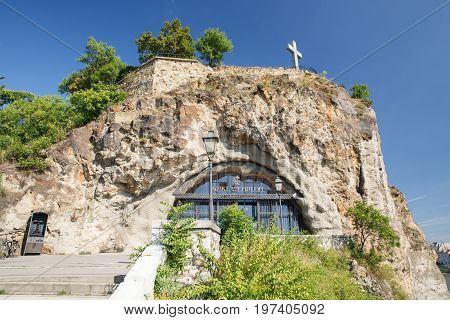 Entrance To The Temple Of The Pauline Order In The Rock At The Gellert Hill In Budapest