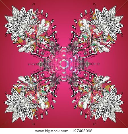 Snowflake winter. Isolated watercolor snowflakes on colorful background. Symbol of winter. Vector illustration.