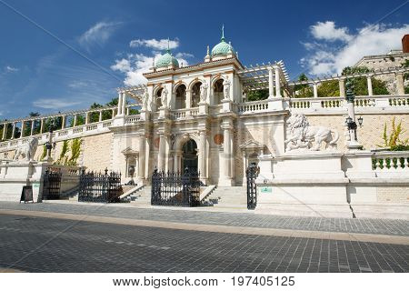 The Lower Part Of Buda Castle, The Entrance With Sculptures Of Lions. Budapest