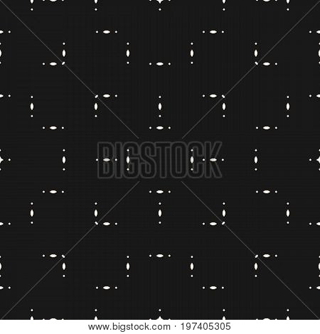 Vector minimalist pattern. Abstract geometric seamless texture with tiny geometrical shapes, ovals, rhombuses. Modern pattern. Subtle black background. Simple design element for decor, prints, covers, digital, web. Small geometric shapes pattern.
