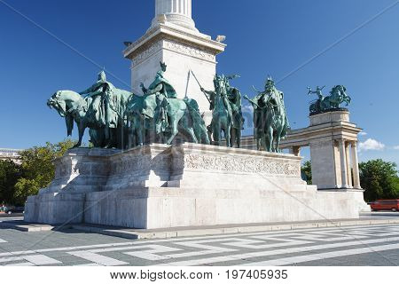 Equestrian Statues Of The Hungarian Chieftains In Heroes Square Of Budapest
