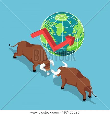 Flat 3d isometric bulls fighting with world and growth graph. Bullish stock market and financial concept.