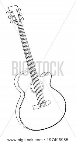 The Sketch of a classical variety guitar.
