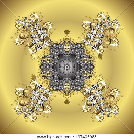 Vector illustration. Christmas Stylized Snowflakes on a golden gradient radial background.