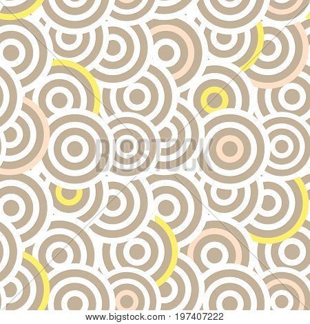 Overlapping striped circles seamless vector pattern. Abstract white and taupe color elements.