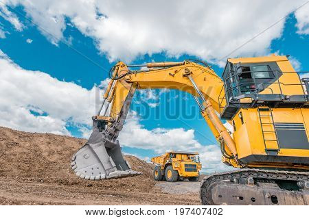 earthmoving at an open-pit, coal mining, big truck