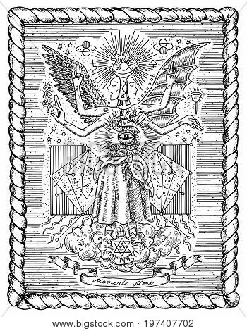 Occult and new age drawing of mystic and spiritual symbols, goddess of wisdom and eternity, vignette banner and constellations in frame. Latin text Momento Mori means Remember that you have to die