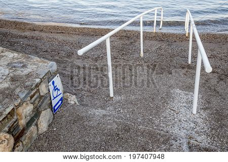 Beach Access And Sign For The Disabled