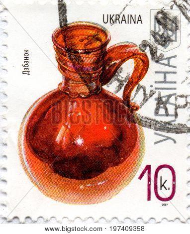 UKRAINE - CIRCA 2017: A postage stamp printed in Ukraine shows An old Ukrainian ewer for liquids circa 2007