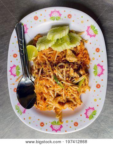 Thai food Pad thai Stir fry noodles in padthai style in Thailand