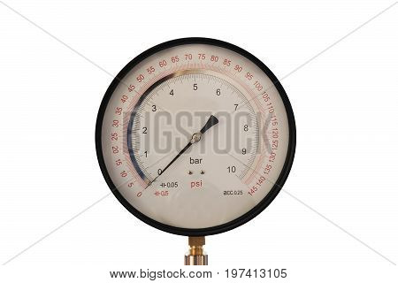 Precision pressure gauge with mirror dial on isolated on white background