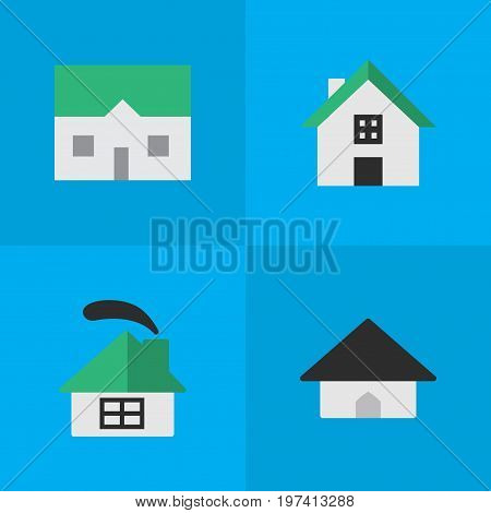 Elements Base, House, Dwelling And Other Synonyms Building, House And Home.  Vector Illustration Set Of Simple Estate Icons.