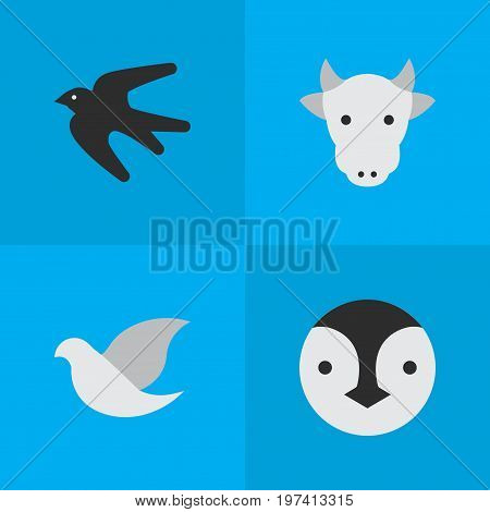 Elements Kine, Sparrow, Pigeon And Other Synonyms Penguin, Milk And Flightless.  Vector Illustration Set Of Simple Animals Icons.