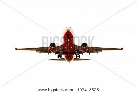 plane approaching to landing isolated white backgorund