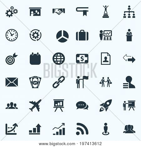 Elements Growth Chart, Correspondence, Round Diagram And Other Synonyms Worker, Gears And Connection.  Vector Illustration Set Of Simple Solution Icons.