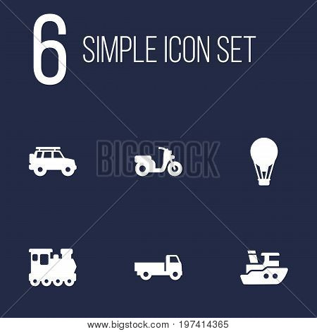 Collection Of Hatchback, Lorry, Airship And Other Elements.  Set Of 6 Traffic Icons Set.