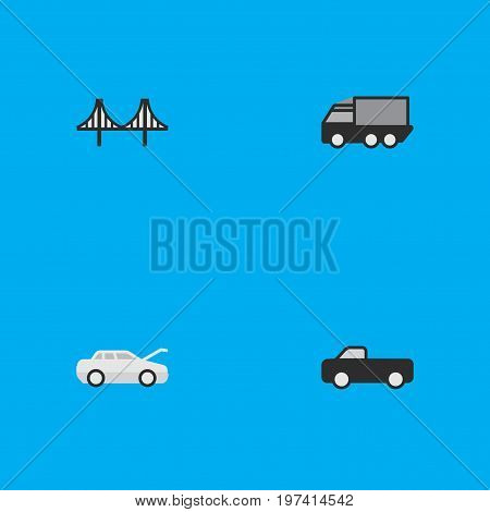 Elements Truck, Lorry, Automobile And Other Synonyms Car, Truck And Lorry.  Vector Illustration Set Of Simple Transportation Icons.