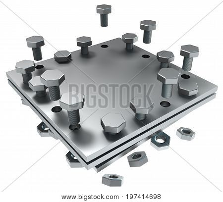 Metal plate piece with bolts dark metal 3d illustration isolated horizontal over white