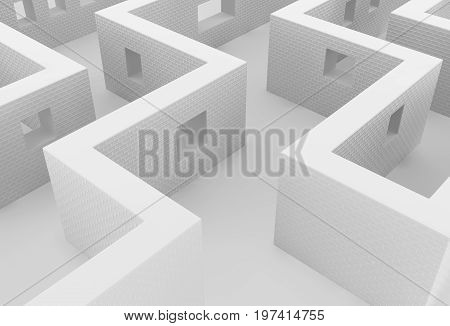 White wall labyrinth pass abstract 3d illustration horizontal